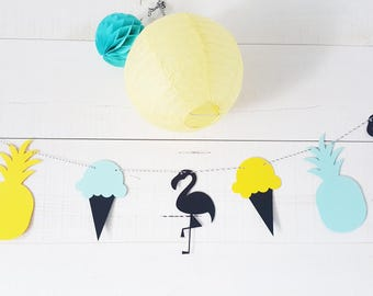 Garland-8 items - pineapple-Flamingo-multicolored - ice for candy bar, birthday, party table