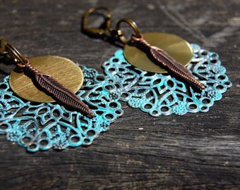 Tribal Earrings, Bohemian Earrings, Patina Earrings, Turquoise Earrings, Dangle Earrings, Boho Jewelry, Ethnic earrings, Hippie Gift for her