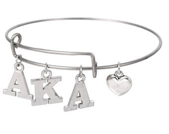Alpha Kappa Alpha Sorority AKA Letters Heart Bangle Bracelet AKA149