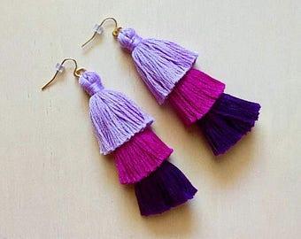 Handmade Ombré Purple Tiered Tassel Earrings, Fringe Tassel Earrings, Stacked Tassel Earrings, Fringe Drops, ombre fringe drops