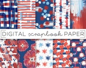 Red White & Blue Abstract Painterly Print Digital Scrapbook Paper Watercolor 4th of July Floral Hand Drawn Brush Stroke Art Paint Background