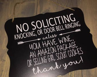 NO SOLICITING unless... hanging door sign