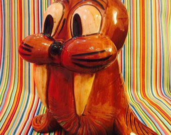 Doranne of California Pottery Anthropomorphic Walrus Cookie Jar circa 1960s