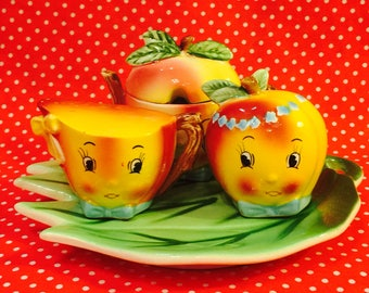 Napco Anthropomorphic Apples on a Leaf Children's Condiment Set made in Japan circa 1950s