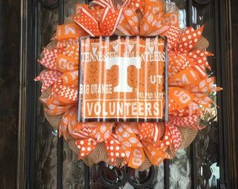 Tennessee Vols Wreath, University of Tennessee Wreath, Volunteers Wreath, Tenn Wreath, Vols Wreath, Tennessee Wreath, TN wreath,TN Football