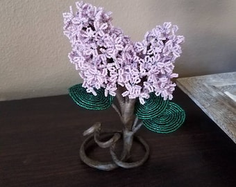 Lilac handmade french beaded flower