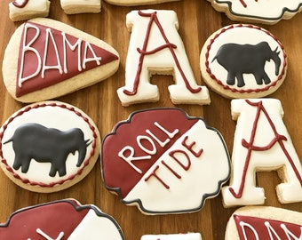 College team cookies/ college football party cookies/football cookies/themed party/college graduate/ gift for college graduate/1 dozen
