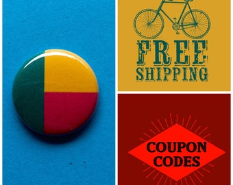 Benin Flag Button Pin or Magnet, FREE  SHIPPING & Coupon Codes