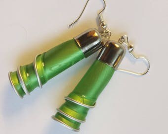 """Earrings capsule coffee """"?"""" recycled lime green spirals"""
