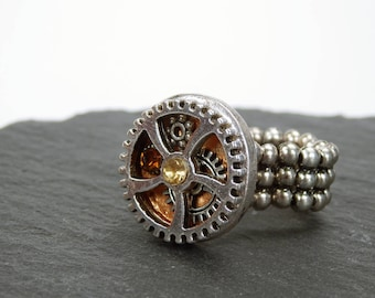 Ring gear steampunk ring with silvery gear and golden rhinestones-steampunk gears with stretchable ring Ribbon 3d Ring