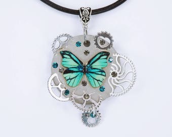 Necklace concrete Butterfly glamour steampunk in blue turquoise concrete jewelry on black leather strap concrete Gears gear Concrete