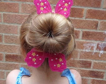 Cerise Bow Wings Bun Pal / Pony Tail Pal - Hair Accessory - Hair Clip - Barrette - Fascinator - Hair Slide - Hair Grips - Wings - Fairy