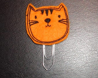 Ginger Cat Kitty Pussy -  Book - Paper Clip - Felt Planner Clip - Planner Accessory - Stationery - Cute Paper Clip - Bookmark - Planner Clip