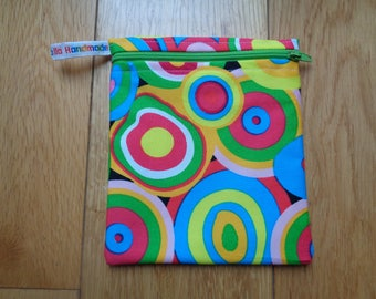 Snack Bag - Bikini Bag - Lunch Bag - Make Up Bag Small Poppins Waterproof Lined Zip Pouch - Sandwich bag  Eco - Gobstopper Bright Circle
