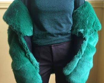 eco-fur emerald green / made in italy/ japanese fabric / never used
