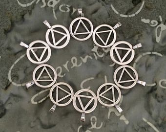AA Charms / Unity Symbol Charms / Alcoholics Anonymous / Recovery Charms / SET of TEN