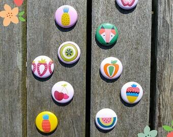 Set of 10 Badges 'Tutti Frutti'