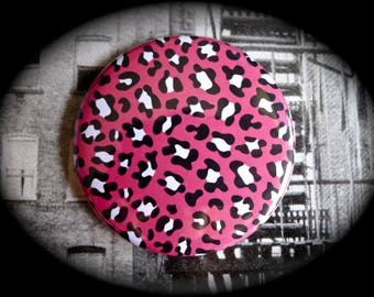 Pocket mirror 'Pink Leopard'