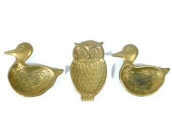 Vintage Brass Teabag Rests, Set of 3 Animal Shapped Brass Teabag Rests or Mini Ashtrays, Trinket Dishes