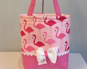 Toddler Tote Bag - Girl Tote Bag - Children's Tote Bag - Pink Flamingo - Tote Bag - Small Tote Bag - Mini Tote Bag