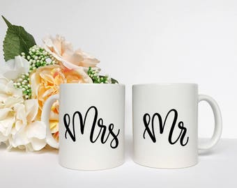 Mr and Mrs Coffee Mug Set - Mr and Mrs, Wedding Gift, Coffee Mug, His and Hers