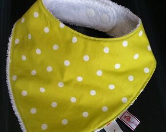 "Bib bandana or ""BAVANA"" green lime/white polka dots and white sponge."