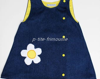 Navy in jeans blue fully lined cotton tunic dress. 3 years.