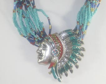 P- 41 Vintage Necklace and earrings, beads and metal