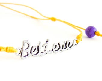 """Motivational Necklace, Motivational Jewelry, Mens Motivational Gifts With """"Believe"""" Quote. Men Necklace"""