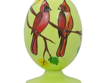 "3.5"" Red Cardinal Birds in Forest Wooden Figurine"