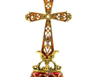 "6.75"" Golden Jeweled Tabletop Cross Rosary Box"