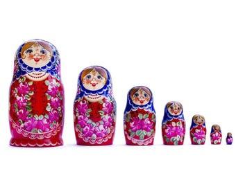 "8.5"" Set of 7 Blue Scarf Red Dress Matryoshka Russian Nesting Dolls"