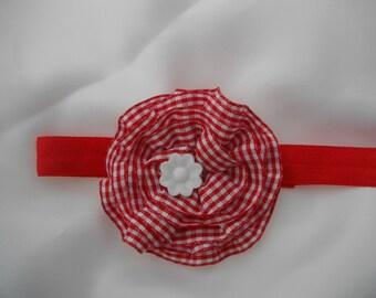 headband - baby headband - handmade - cotton red and white gingham - Center white flower, flower hair accessory