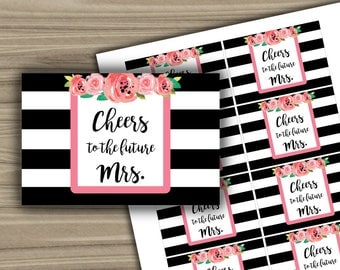Mini Champagne Labels - Bridal Shower - Black and White - Floral - Pink - PRINTABLE - INSTANT DOWNLOAD - Bachelorette Party - L25