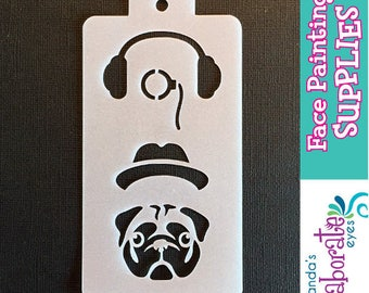 HIPSTER PET PUG - Face Painting Stencil (Medium)