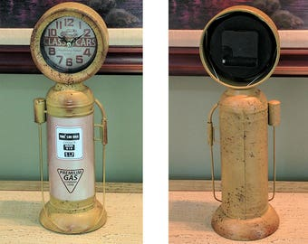 Antique looking Large Scale Gas Pump Clock metal decor man cave die cast car collection petroliana gasoline gas and oil garage mechanic