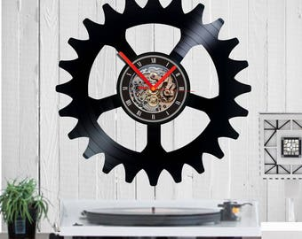 bicycle cot,Vinyl clock,Bike,Gift for Cyclist,Cyclist,Vinyl record,wall clock,bicycle rack,Bike gift,Bike clock,BMX bike,Bike wheel,chain