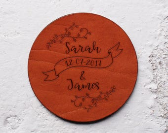 Best wedding gifts for couple, Leather anniversary gift, 3rd anniversary gift, Newlywed first Christmas, Personalised Leather coasters sets