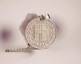 Iceland Coin Necklace. 25 Aurar, 1966.