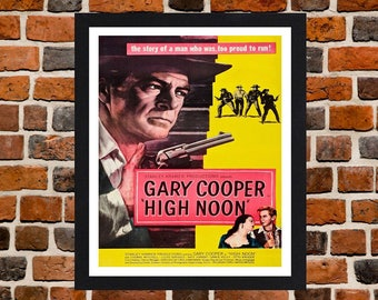 Framed High Noon Gary Cooper Western Movie / Film Poster A3 Size Mounted In Black Or White Frame (Version -2)