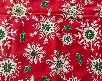 Vintage Midcentury Christmas Tablecloth / Snowflake Holiday Linen /  Christmas Decor Display / Red White /