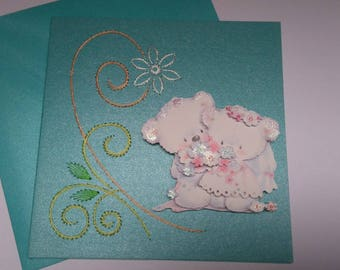 Embroidered greeting card and 3D 736