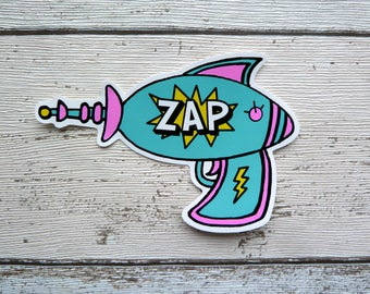 ZAP Laser Gun Vinyl Sticker, Space, Laptop Stickers, Cool Stickers, Alien, Sci-fi, Hipster Stickers, Cute Stickers, Retro Comic Book, Decal