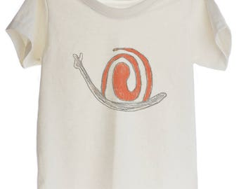 Snail Baby Drawing Organic T-shirt for Kids