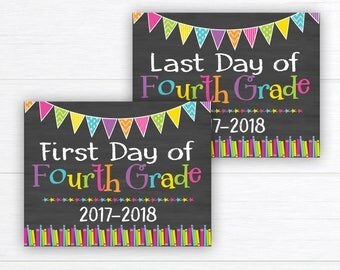 Back to School Sign, School Sign Prop, First Day of Fourth Grade Sign, Chalkboard Sign, First Day of School, 4th Grade,  Instant Download