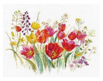 Cross Stitch Kit Field of tulips