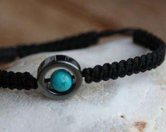 shamballa bracelet with hematite and turquoise bead