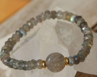Bracelet labradorite faceted heishi beads