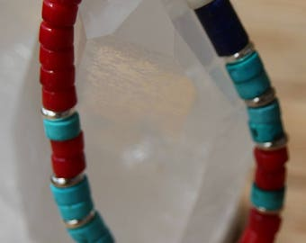 Bracelet with beads red coral and turquoise