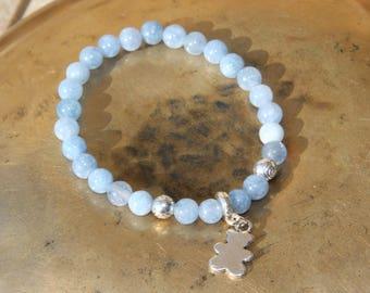 Navy bracelet with semi-precious aquamarine beads